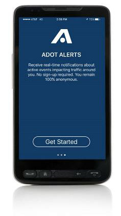 ADOT Alerts app on a mobile phone