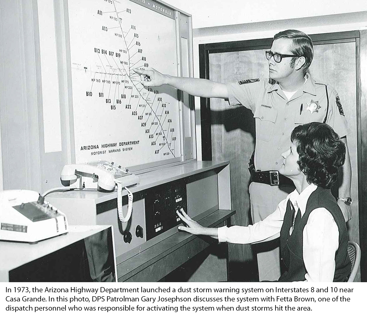 photo from 1973 showing early dust storm alert system