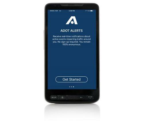mobile phone with ADOT Alerts app