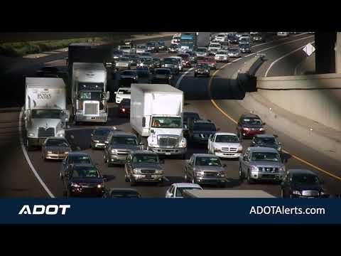 Busy highway traffic.